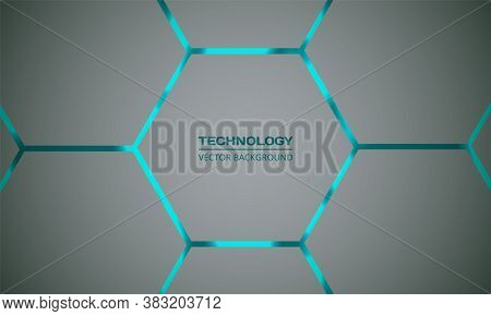 Hexagonal Turquoise Vector Abstract Background. Bright Turquoise Flashes Under Hexagon In Light Tech