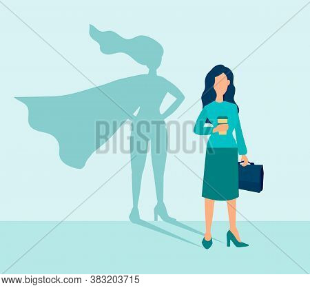 Business Woman With A Super Hero Shadow. Leadership Motivation Concept. Vector Illustration