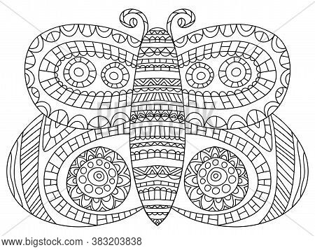 Fairy Tail Butterfly Coloring Page Stock Vector Illustration. Decorative Detailed Butterfly Printabl