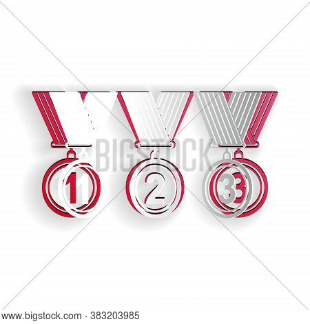 Paper Cut Set Medal Icon Isolated On White Background. Winner Simbol. Paper Art Style. Vector