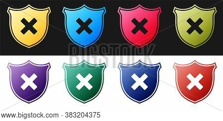 Set Shield And Cross X Mark Icon Isolated On Black And White Background. Denied Disapproved Sign. Pr