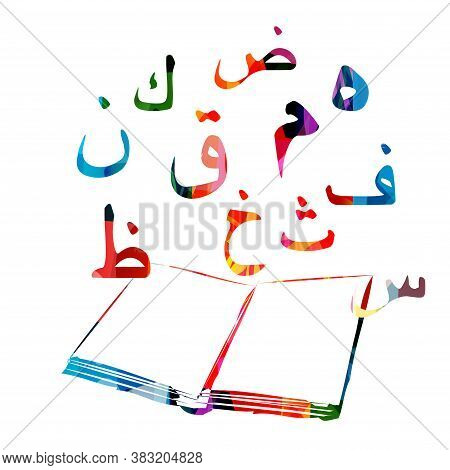 Education And Learning Concept With Arabic Alphabet Letters. Colorful Open Book With Arabic Islamic