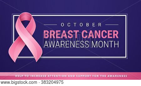 Breast Cancer Awareness Banner Design Template - Pink Breast Cancer Ribbon, Text 'breast Cancer Awar