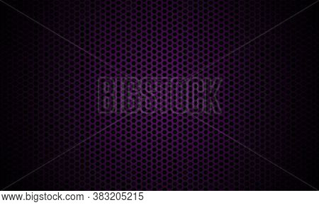 Dark Violet Background. Dark Hexagon Carbon Fiber Texture. Violet Honeycomb Metal Texture Steel Back