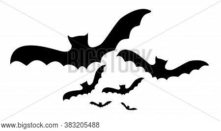Flock Of Black Silhouettes Of Bats. Vector Illustration On White Background.