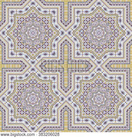 Cute Moroccan Zellige Tile Seamless Pattern. Ethnic Geometric Vector Motif. Plaid Print Design. Styl
