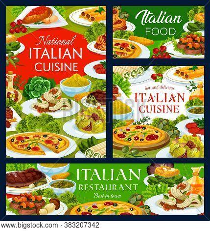 Italian Cuisine Meals Vector Banners. Shrimp Tagliatelle, Pizza Marinara And Caesar Salad, Veal With