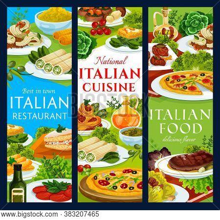 Italian Cuisine Restaurant Meals Vector Banners. Pizza Marinara, Spaghetti Bolognese And Saltimbocca