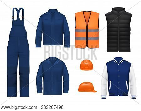 Workwear Uniform And Worker Clothes, Vector Realistic Safety Jackets And Overall Vests. Work Wear Cl