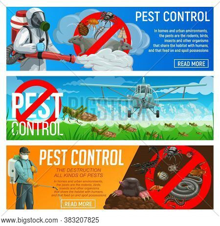 Pest Control Service Vector Banners, Exterminators And Agriculture Airplane Spraying Insecticide Aga