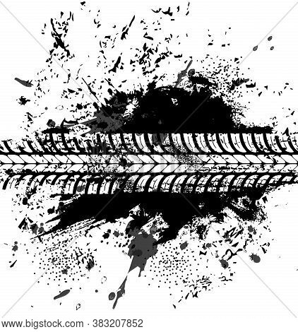 Offroad Tyre Print And Grunge Spot, Vector Black Dirty Tire Trace For Automobile Service Or Off Road