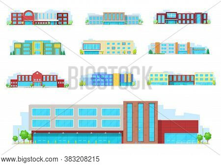 Education Building Isolated Icons With Vector School, University, College And Academy Houses. School