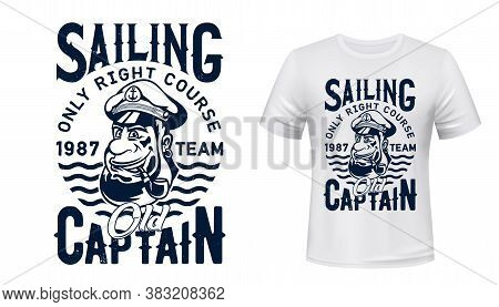Sailing Captain T-shirt Vector Print. Smiling Captain, Old Sailor In Peaked Service Cap With Smoking