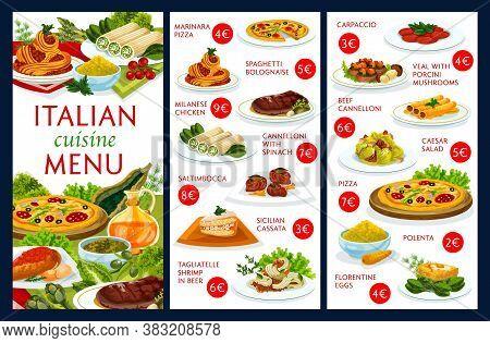 Italian Cuisine Restaurant Menu Cover Vector Template. Italian Dishes Menu With Pizza And Spaghetti,