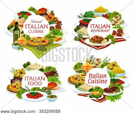 Italian Cuisine Restaurant Dishes Round Banners. Pizza, Veal With Porcini Mushrooms And Carpaccio, E