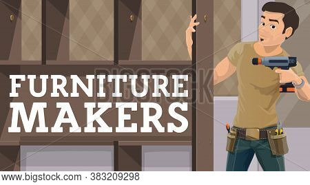 Furniture Maker Assembling Wardrobe. Worker Wearing Belt With Hand Tools, Man Using Electric Screwdr