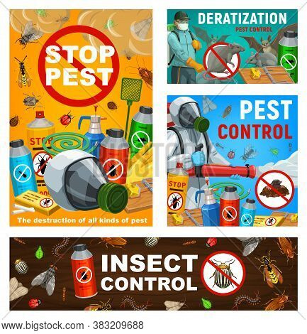 Pest Control Vector Posters, Disinsection, Insects And Rodents Extermination Service At Home And Gar