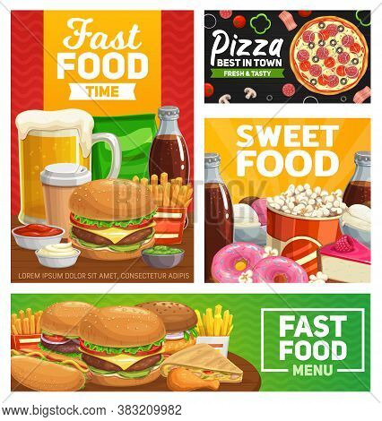 Fast Food Combo Meals Vector Pizza, Cheeseburger And French Fries With Drinks Cola, Coffee And Beer.