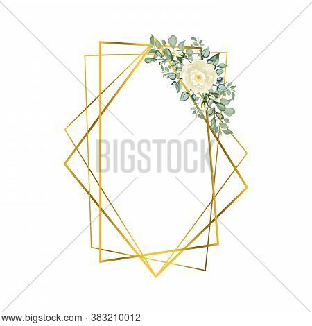 Frame Golden Crystal. Geometric Crystal Stone Polyhedron Mosaic Shape. Floral Art Deco Style For Wed