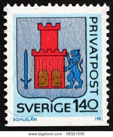 Postage stamp Sweden 1981 Arms of Bohuslan Province