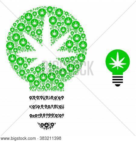Vector Cannabis Innovation Bulb Mosaic Is Organized From Repeating Recursive Cannabis Innovation Bul
