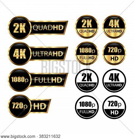 4k Ultrahd, 2k Quadhd, 1080 Fullhd, 720 Hd Dimensions Of Video, Video Resolution Icon Logo. Tv/game