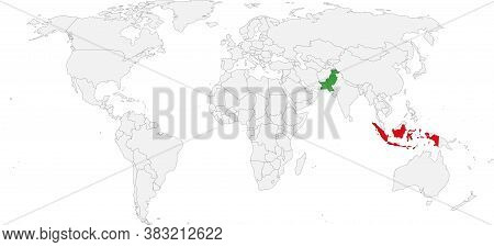 Pakistan, Indonesia Countries Isolated On World Map. Business Concepts And Backgrounds.