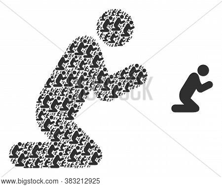 Vector Pray Person Collage Is Organized With Repeating Self Pray Person Pictograms. Recursion Collag
