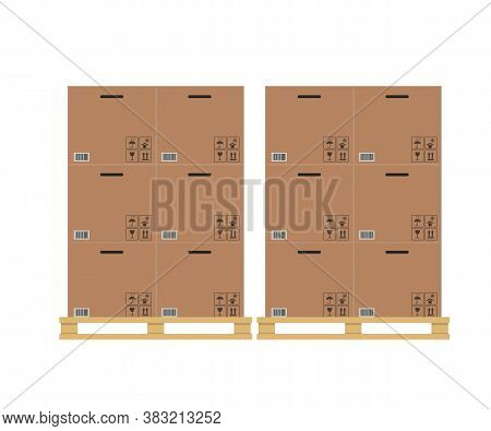 Cardboard Boxes Stacked On Wooden Pallet. Vector Illustration.