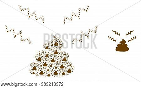Vector Smelly Shit Composition Is Formed With Random Recursive Smelly Shit Parts. Recursive Composit