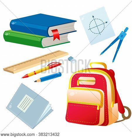 Set Of School Supplies. Color Images Of Textbooks, Pencil, Rulers, Pen, Notebook And Satchel.