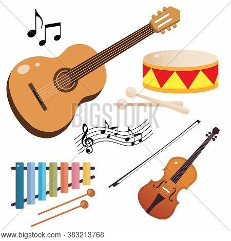 Set Of Musical Instruments. Color Images Of Guitar, Violin, Drum And Xylophone On White Background.