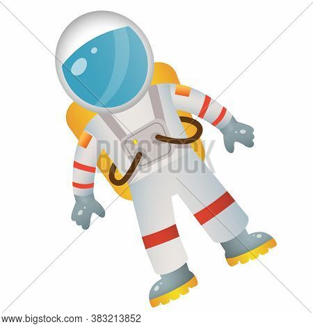 Color Image Of Cartoon Astronaut In Spacesuit On White Background. Space. Vector Illustration For Ki