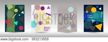 Modern Design Template. Abstract Background In The Style Of Memphis.  Artistic Geometric Cover Desig