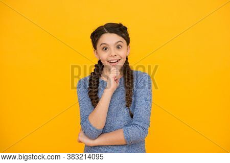 Teen Emotional Girl. Human Emotions And Facial Expression Concept. Small Kid Feel Surprise. Little C