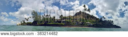 Panoramic Of Beach With Waves Lapping, Napakaa, Lava Rock Wall And Coconut Trees With Diamond Head I