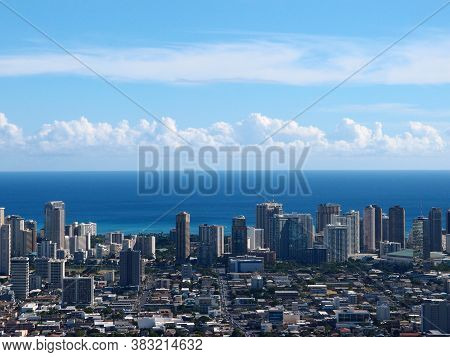 Aerial Of Honolulu Mccully Street Leading To Waikiki With  Buildings, Parks, Hotels, Condos, And Pac