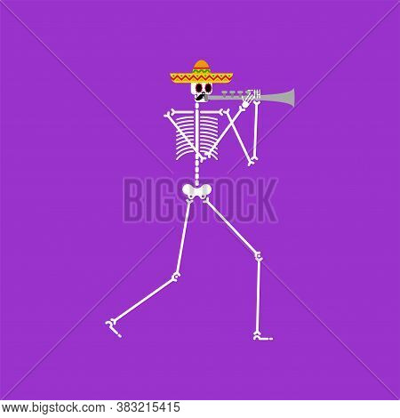 Skeleton And Trumpet. Dead Man With Musical Instrument. Dead Music Band. Skull In Sombrero. Day Of D