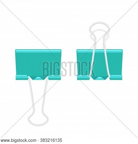 Paper Binder Clip Fastener Folded And Unfolded. School And Office Supplies Collection. Flat Vector I