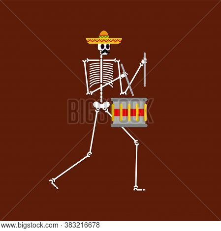 Skeleton And Drum. Dead Man With Musical Instrument. Dead Music Band. Skull In Sombrero. Day Of Dead