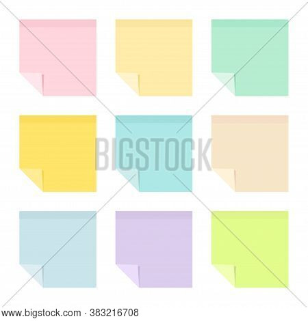 Set Of Empty Pastel Colored Sticky Paper Notes With Curled Corners. School And Office Supplies Colle
