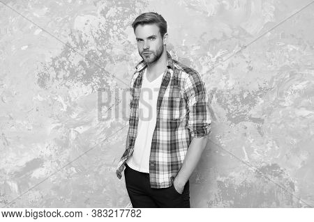 Act Casual. Handsome Guy In Casual Style. Unshaven Man Wear Casual Clothing Abstract Background. Cas