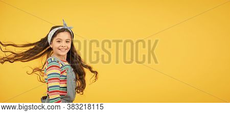 Precious Perfection. Cute Baby Headscarf Bow. Adorable Little Girl Perfect Curly Long Hair. Shampoo
