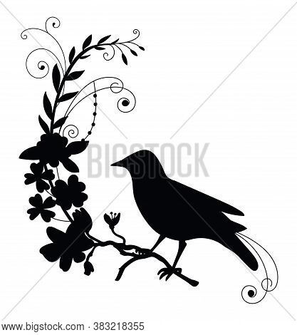 Vector Template Bird And Decorative Flowers. Black Silhouette Illustration Isolated On White. For We