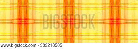 Autumn Tartan Background. Watercolor Picnic Blanket. Wool Traditional Squares For Kilt Design. Seaml