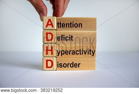 Concept Words 'adhd, Attention Deficit Hyperactivity Disorder' On Cubes And Blocks On A Beautiful Wh