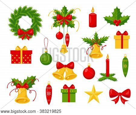 Collection Of Christmas Holiday Decorations On White Background. Elements For Winter Design. Traditi