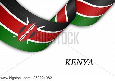 Waving Ribbon Or Banner With Flag Of Kenya.