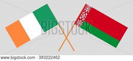 Crossed Flags Of Belarus And Ireland. Official Colors. Correct Proportion. Vector Illustration
