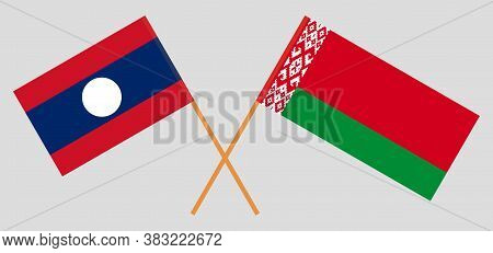 Crossed Flags Of Belarus And Laos. Official Colors. Correct Proportion. Vector Illustration